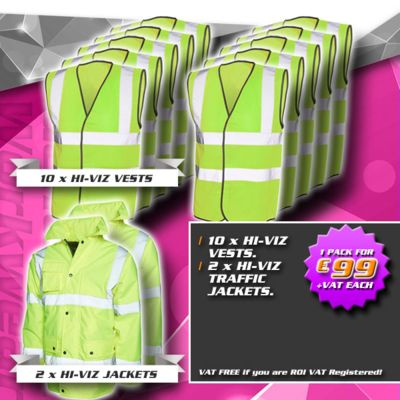 Pack 5 - (2) Hi-Viz Road Safety Jackets, (10) Hi-Viz Vests Thumbnail