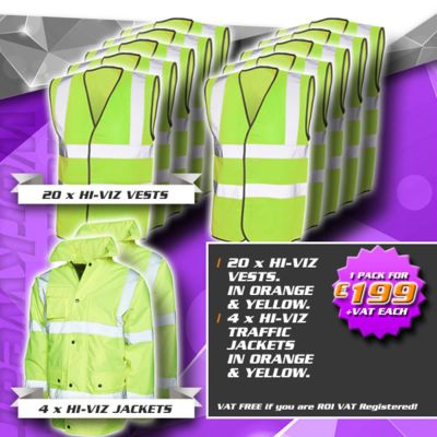 Pack 10 - (4) Hi-Viz Road Safety Jackets, (20) Hi-Viz Vests Thumbnail
